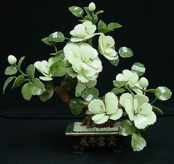 Цветы из нефрита, художественная резьба 1