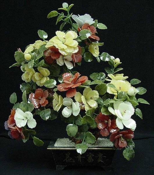 Цветы из нефрита, художественная резьба 11