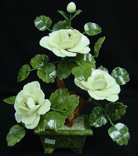Цветы из нефрита, художественная резьба 13