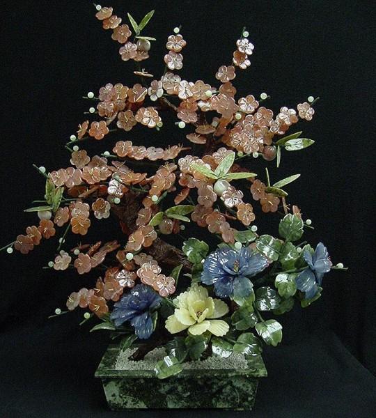 Цветы из нефрита, художественная резьба 15
