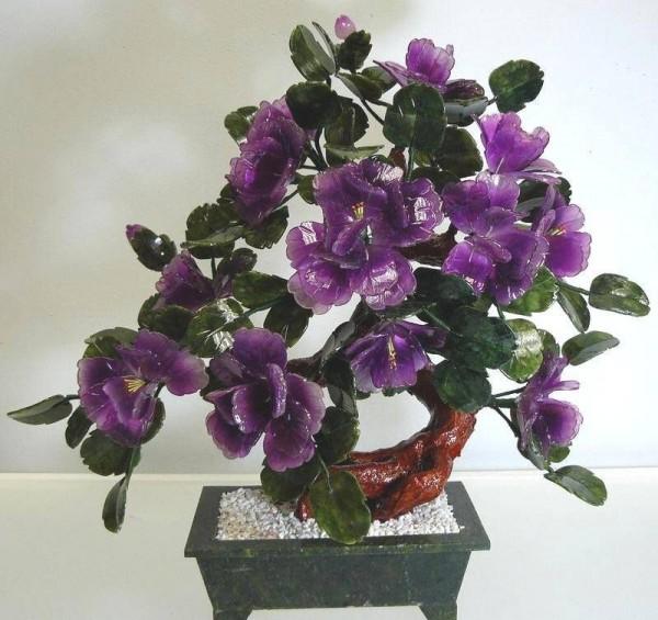Цветы из нефрита, художественная резьба 3