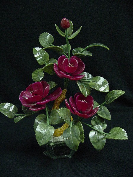 Цветы из нефрита, художественная резьба 7