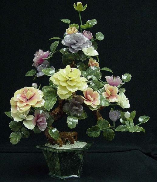 Цветы из нефрита, художественная резьба 9